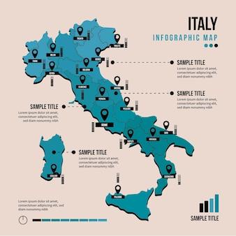Италия карта инфографики в плоский дизайн