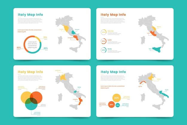 イタリア地図インフォグラフィック