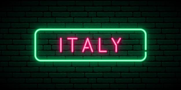 Италия неоновая вывеска.