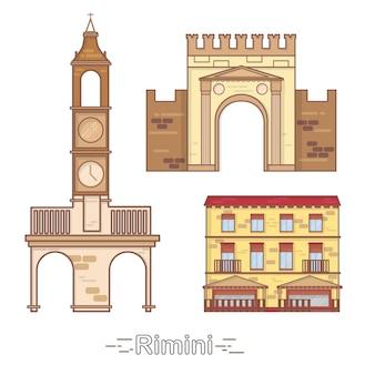 Италия римини наброски городских зданий, линейная иллюстрация, баннер, туристический ориентир - вектор зданий