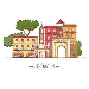 이탈리아 리미니 개요 도시의 스카이 라인, 선형 그림, 배너, 여행 랜드마크 - 건물 벡터