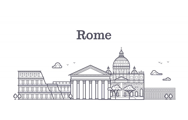 Italy rome architecture, europe skyline vector linear collection