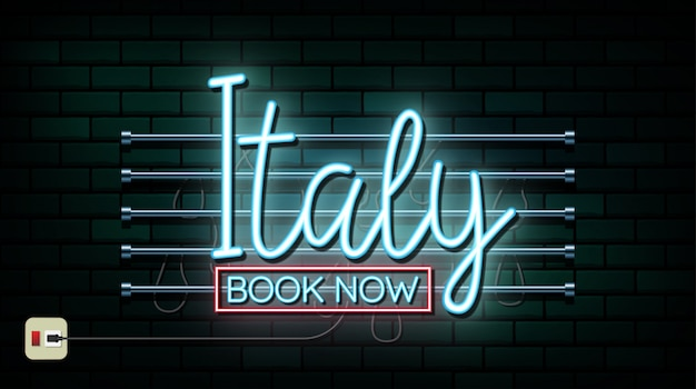 Italy and rome travel and journey neon light background