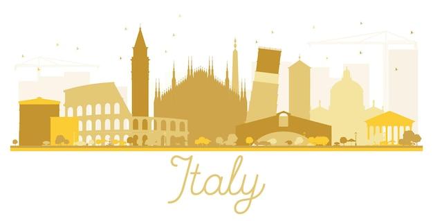이탈리아 스카이 라인 황금 실루엣입니다. 벡터 일러스트 레이 션. 관광 프레젠테이션, 배너, 현수막 또는 웹 사이트를 위한 단순한 평면 개념입니다. 비즈니스 여행 개념입니다. 랜드마크가 있는 도시 풍경.