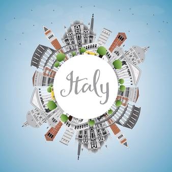 랜드마크와 복사 공간이 있는 이탈리아 스카이라인. 벡터 일러스트 레이 션. 역사적인 건축과 비즈니스 여행 및 관광 개념입니다. 프레젠테이션 배너 현수막 및 웹사이트용 이미지.