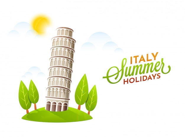 Italy summer holidays poster with pisa