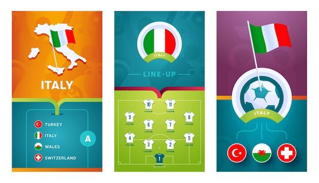 ソーシャルメディア用に設定されたイタリアチームヨーロッパサッカー垂直バナー。イタリアグループ等角図、ピンフラグ、試合スケジュール、サッカー場のラインナップが記載されたバナー