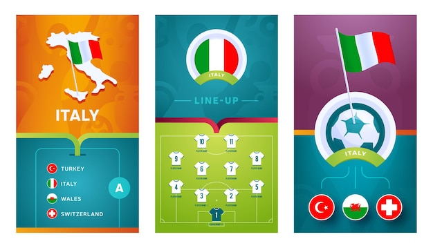Italy team european   football vertical banner set for social media. italy group a banner with isometric map, pin flag, match schedule and line-up on soccer field