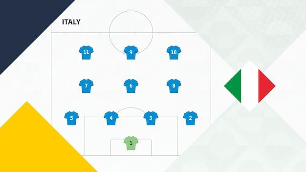 Сборная италии предпочла систему 4-3-3, фон сборной италии для европейских футбольных соревнований.