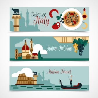 Italy touristic banner set