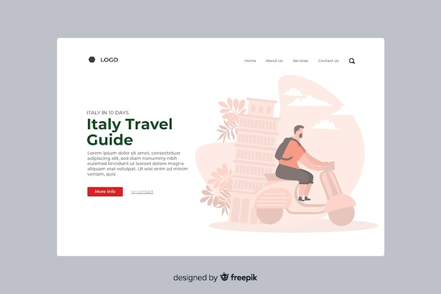 Italy travel guide landing page