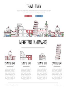 Италия путешествия инфографика в линейном стиле