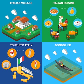 Italy travel isometric card set