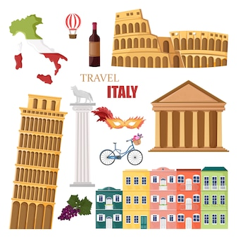 Italy travel landmarks collection