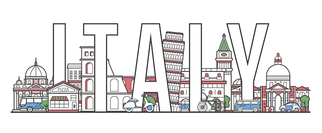 Italy travel lettering in linear style