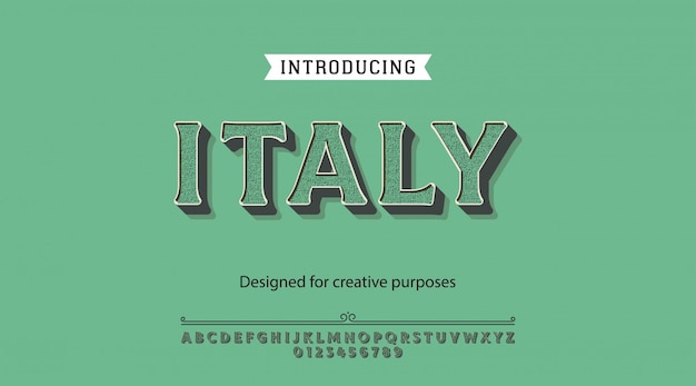 Italy typeface.for labels and different type designs