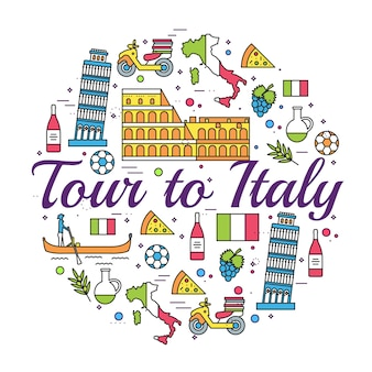 Italy vector brochure cards thin line set. country travel template of flyear, magazines, posters.