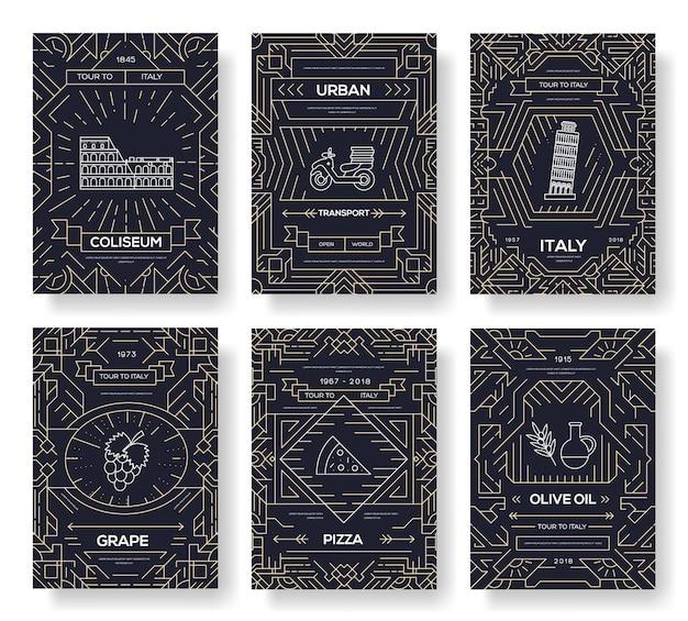 イタリアベクトルパンフレットカード細い線セット。 flyear、雑誌、ポスターのカントリートラベルテンプレート。