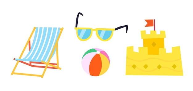 Items you see at beach in summer illustration