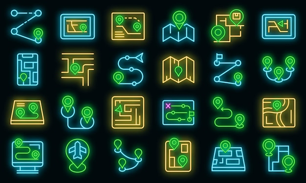 Itinerary icons set vector neon