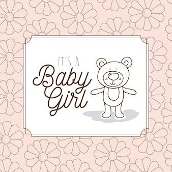 熊のテディとその赤ちゃんの女の子のフレーム