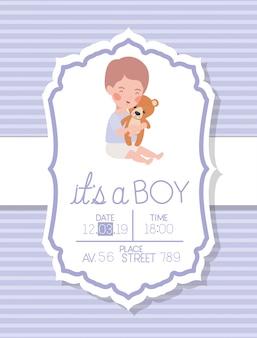 Это карта детского душа мальчика с ребенком и плюшевым мишкой