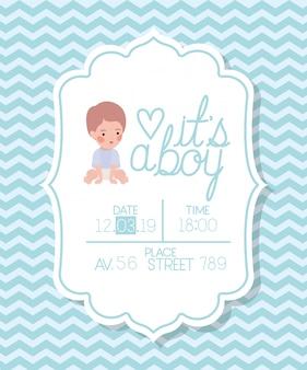 Это карта детского душа мальчика с маленьким ребенком Бесплатные векторы