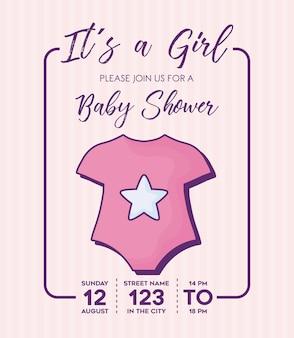 それは、背景、カラフルなデザインの上に赤ちゃんの服のアイコンとその少女 - ベイビーシャワーの招待状。ベクトルil