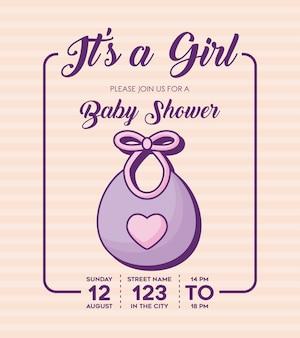 その女の子 - ベイビーシャワーの招待状は、背景、カラフルなデザインの上にビブのアイコンが付いています。ベクターイラスト