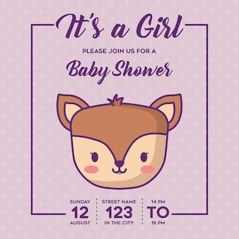 보라색 배경, 화려한 디자인 위에 귀여운 사슴 아이콘으로 여자 아기 샤워 초대장. vecto