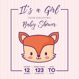 보라색 배경, 화려한 디자인 위에 귀여운 여우 아이콘으로 여자 아기 샤워 초대장. 벡터