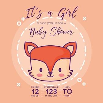 その女の子赤ちゃんのシャワー招待状と狐のアイコン