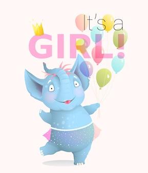 생일을 축하하는 아기 코끼리와 함께 소녀 인사말 카드입니다. 귀여운 신생아 소녀 동물 캐릭터 풍선과 치마, 명랑하고 행복합니다. 아이 이벤트에 대 한 3d 현실적인 예술 만화 벡터.