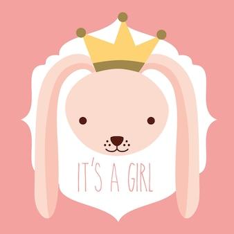왕관 카드와 소녀 핑크 토끼