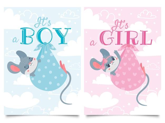 Это карточки мальчика и девочки. этикетка детского душа с милой мышью, мышами, детьми, векторные иллюстрации шаржа.