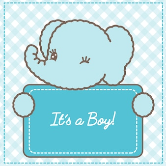 Its a boy baby elephant card for baby shower