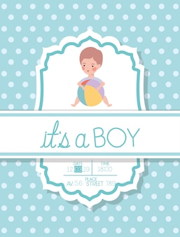 Its a boy baby shower card with kid and plastic balloon