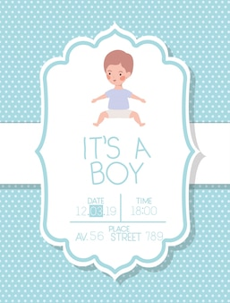 Its a boy baby shower card with little kid
