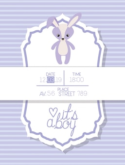 Its a boy baby shower card with rabbit stuffed