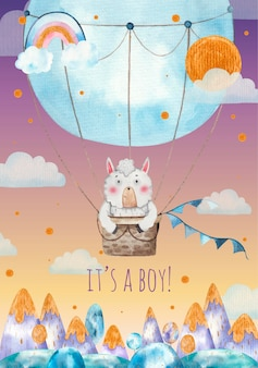 Its a boy baby shower greeting card, cute lama lying in blue hot air balloon over the mountains