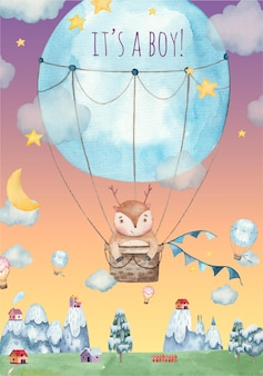 Its a boy baby shower greeting card with cute deer flying in a hot air balloon