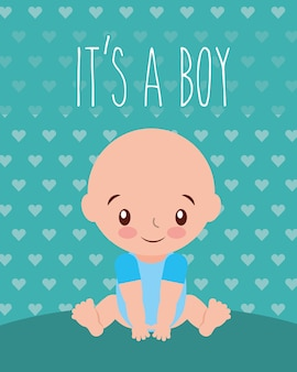 Its a boy baby shower invitation card hearts background