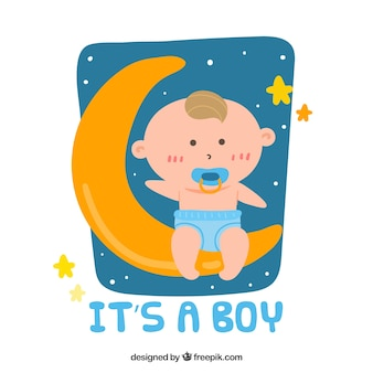 Its a boy background with baby on moon