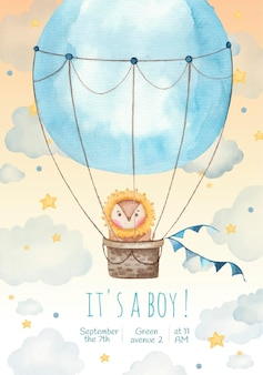 Its a boy children invitation card with cute lion in a balloon in the stars and clouds, painting