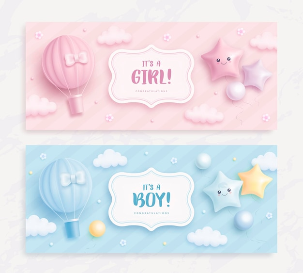 Its a boy or girl baby shower banners