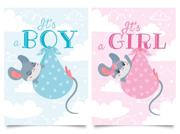 Its boy and girl cards. baby shower label with cute mouse, mice children vector cartoon illustration set.