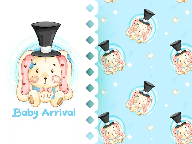 Its a boy pattern with rabbit seamless pattern