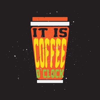 Его кофе o clock цитирует типографский плакат дизайн футболки