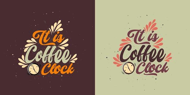 Его кофе oclock типографский кофе плакат футболка дизайн фона