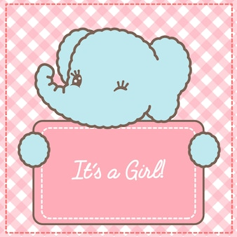 Its a girl baby elephant card for baby shower